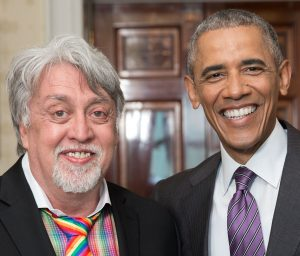 President Barack Obama participates in a photo line with Gilbert Baker during a reception in recognition of LGBT Pride Month, in the East Room of the White House, June 9, 2016. (Official White House Photo by Amanda Lucidon)